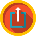 upload, Multimedia Option, outbox, up arrow, Arrows, Direction, Music And Multimedia, uploading Firebrick icon