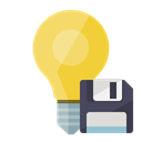 ligthbulb, Diskette Black icon