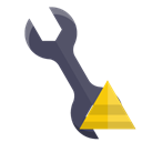 Wrench, technical, pyramid Black icon