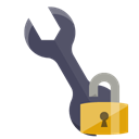 Wrench, open, technical, Lock Black icon