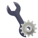 technical, Wrench, Gear Black icon