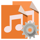 type, Audio, File, Gear Chocolate icon