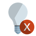 off, ligthbulb, cross Black icon
