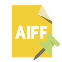 File, push, pin, Aiff, Format Goldenrod icon
