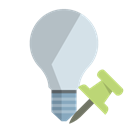 ligthbulb, off, pin, push Black icon
