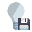 off, Diskette, ligthbulb Black icon