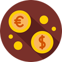 commerce, Business And Finance, finances, Currency, exchange, Money, Euro, Coins, Business, Dollar SaddleBrown icon