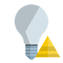 off, ligthbulb, pyramid Black icon