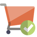 checkmark, Cart, shopping Black icon