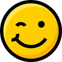 feelings, wink, Ideogram, Emoji, faces, Smileys, interface, emoticons Gold icon