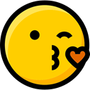 Smileys, feelings, emoticons, faces, interface, Emoji, Ideogram, kiss Gold icon