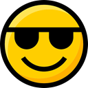 Ideogram, Emoji, interface, sunglasses, feelings, Smileys, faces, emoticons Gold icon