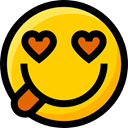 in love, Emoji, interface, Smileys, Ideogram, emoticons, faces, feelings Gold icon