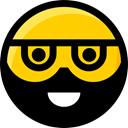interface, Emoji, Beard, Smileys, feelings, faces, emoticons, Ideogram Black icon