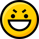 feelings, interface, emoticons, Emoji, Smileys, faces, Ideogram, evil Gold icon