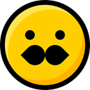 moustache, interface, faces, feelings, Emoji, Smileys, emoticons, Ideogram Gold icon