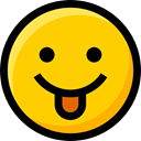 interface, faces, Smileys, Emoji, feelings, Ideogram, tongue, emoticons Gold icon