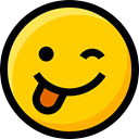 emoticons, Emoji, wink, Ideogram, faces, tongue, Smileys, interface, feelings Gold icon