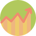 Line Chart, graph, graphic, Business And Finance, up arrow, Business, Profits DarkKhaki icon
