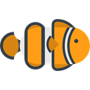 Sea Life, ocean, Clown fish, Animals, Aquarium, Aquatic Black icon