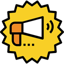 shout, announcer, protest, megaphone, loudspeaker, Tools And Utensils Gold icon