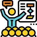Business, stick man, speech, Businessman, Conference, Presentation, Analytics Black icon