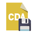 File, Diskette, Cda, Format Goldenrod icon