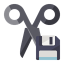 scissors, Diskette Black icon