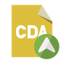 Cda, File, cda up, Format, Up Goldenrod icon