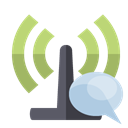 Bubble, speech, antenna Black icon