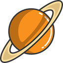 miscellaneous, solar system, Astronomy, saturn, planet, science DarkOrange icon