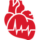 Cardiology, red Crimson icon