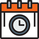 Clock, time, Dates, hour, tool, tools, Calendars, Business And Finance, date, interface, Calendar Black icon