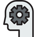 Cogwheels, Business And Finance, people, head, productivity, mind, Brain Lavender icon