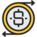 Business, Dollar Symbol, Coins, Dollar, Flow, Bank, dollars, Money, coin, Currency, commerce, Business And Finance Black icon