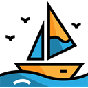 Sailboat, sail, Boat, transport, travel, Boats, sailing Black icon