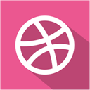 media, Shadow, dribbble, set, Social, flat PaleVioletRed icon