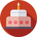 birthday, Dessert, food, cake, Bakery, Celebration, Birthday Cake, Food And Restaurant Firebrick icon