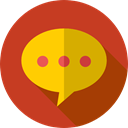 Chat, Music And Multimedia, speech bubble, Conversation, Communication, Multimedia Firebrick icon