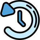 Clock, Seo And Web, interface, left arrow, history, button Black icon
