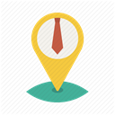 necktie, pin, location, Business, office, Map, Tie Icon