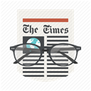 Newspaper, News, press, Glasses, newsletter, the times, media DimGray icon