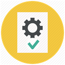 settings, Page, approve, document, File, Gear, Text SandyBrown icon