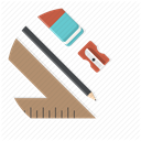 ruler, Drawing, pencil, Blueprint, sharpner, Architect, Draw Icon