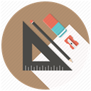Develop, Build, Pen, Blueprints, stationary, sharpner, ruler RosyBrown icon