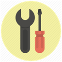 Wrench, tools, Screwdriver, setup, settings, Options, repair PaleGoldenrod icon