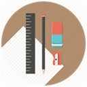 pencil, Sharpener, stationary, Blueprints, paper, ruler, Build RosyBrown icon