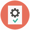 settings, File, Gear, Page, document, approve, Options Coral icon