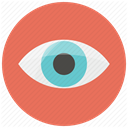 Eye, Visibility, visible, look, watching, watch, vision Coral icon