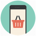 Mobile, phone, ecommerce, shopping basket, Buy online, Shop, online shop MediumAquamarine icon